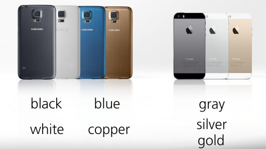 samsung galaxy s5 vs iphone 5s colors