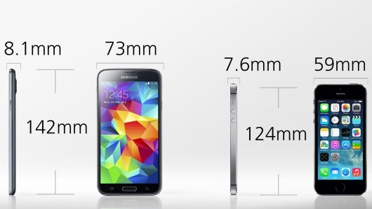 samsung galaxy s5 vs iphone 5s dimensions