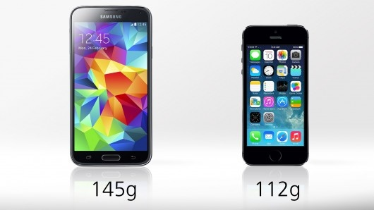 http://www.hitechreports.com/wp-content/uploads/2014/02/samsung-galaxy-s5-vs-iphone-5s weight.jpg
